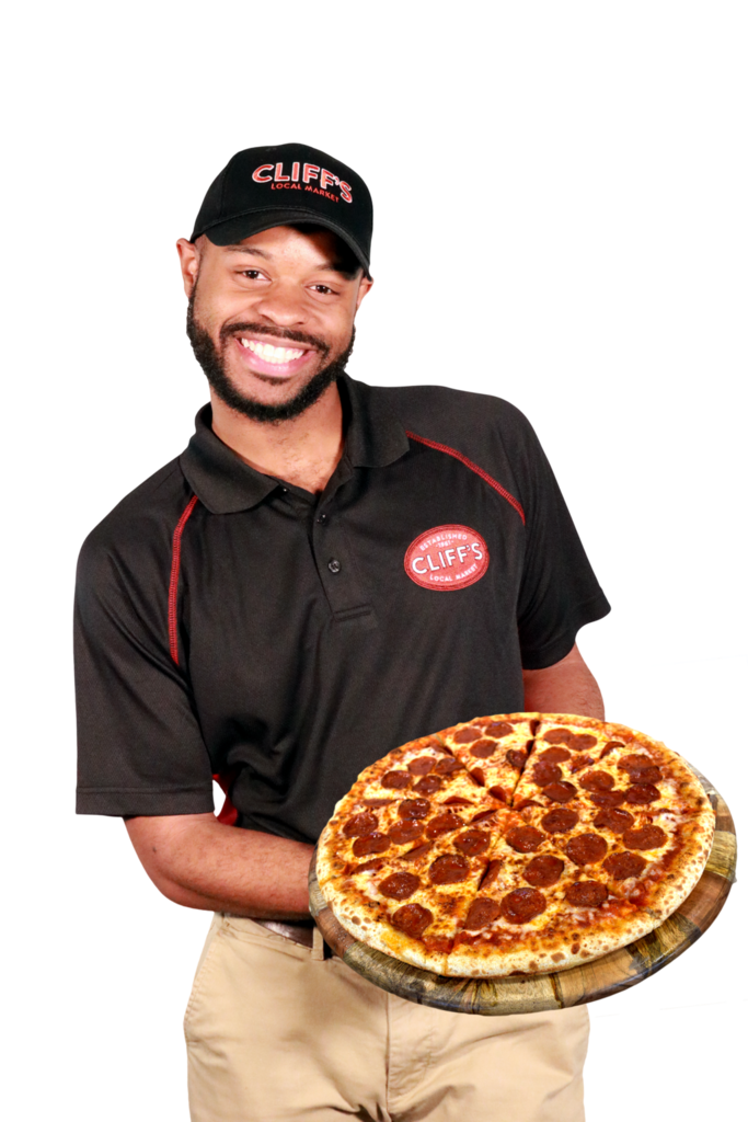 Cliffs Employee with Pizza